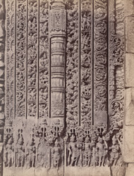 Close view of sculptured mouldings surrounding south doorway of the Kashivishveshvara Temple, Lakkundi